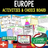 World Geography EUROPE Activities, Choice Board, Print & D