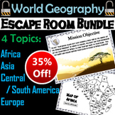 World Geography Escape Room Bundle: Africa, Asia, Europe, Central/ South America
