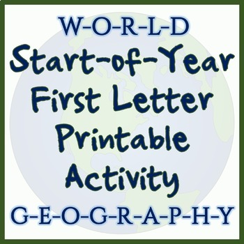 World Geography First Letter Printable - Great for Beginning of Year!