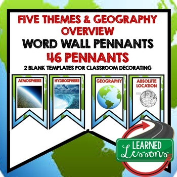 World Geography Fives Themes and Basic Skills Word Wall (46 Word Pennants)
