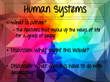 World Geography: Human Systems & Human/Environmental Interactions
