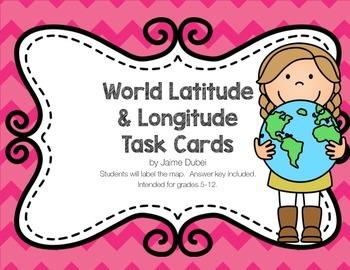 World Geography Latitude & Longitude Task Cards