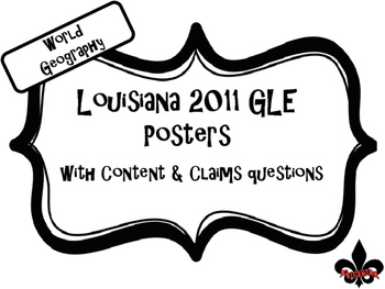 World Geography Louisiana GLE Posters Black and White