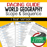 World Geography Pacing Guide, Goes with World Geography Mega Bundle