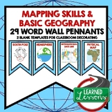 World Geography Mapping Skills Word Wall (29 Word Pennants)