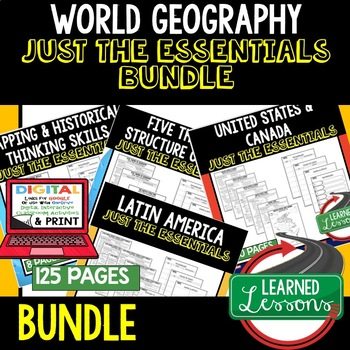 World Geography Outline Notes JUST THE ESSENTIALS Unit Review BUNDLE