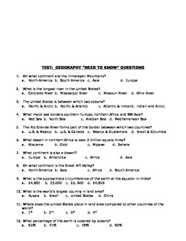 Basic World Geography Overview Questions & Test
