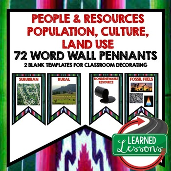 World Geography People and Resources Word Wall (72 Word Pennants)