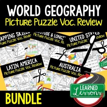 WORLD GEOGRAPHY Picture Puzzle BUNDLE, Test Prep, Unit Review, Study Guide