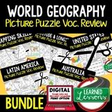 WORLD GEOGRAPHY Picture Puzzle BUNDLE, Test Prep, Unit Review, Study Guide