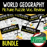 WORLD GEOGRAPHY Picture Puzzle BUNDLE, Test Prep, Unit Rev