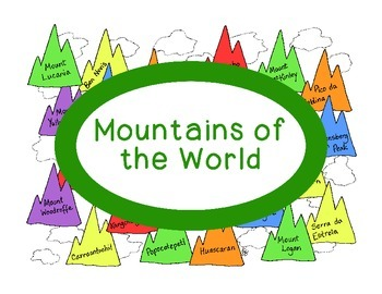 World Geography Research Mountain Peaks Continents PDF Social Studies Worksheet