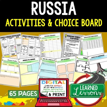World Geography Russia Choice Board Activities Paper and Google Version