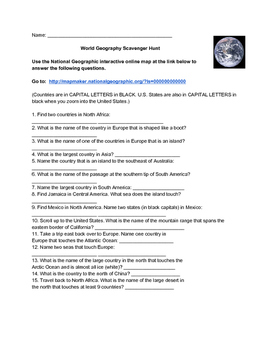 World Geography Scavenger Hunt Answer Key By Monica Lukins Tpt