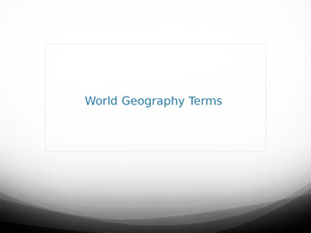 World Geography Terms