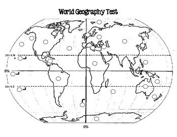 World Geography Test, Pre-Test, and Study Guide