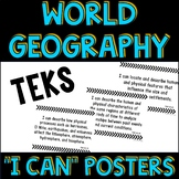 World Geography Texas TEKS I Can Statement Posters and Checklist