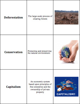 World Geography - The Americas - Vocabulary Cards