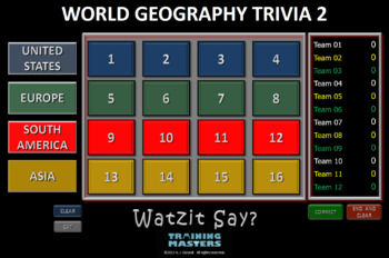 World Geography Trivia 2 (A Watzit Say? Game) -  Evaluation Copy