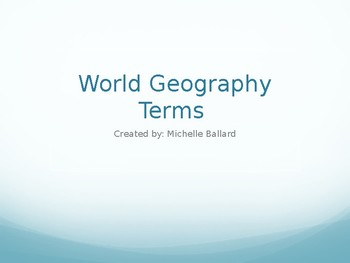 World Geography Vocabulary Terms