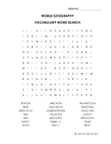 World Geography Vocabulary Word Search