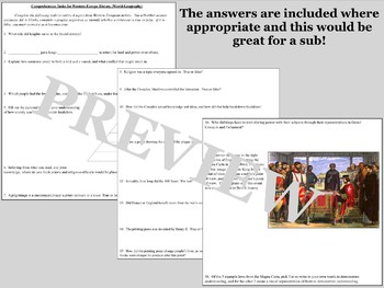 World Geography Western European History Power Point with Comprehension Tasks