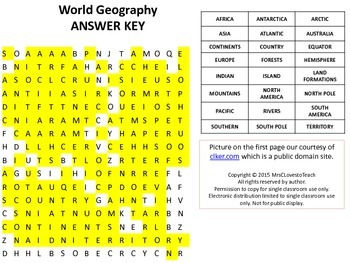 World Geography Word Search with Answer Key