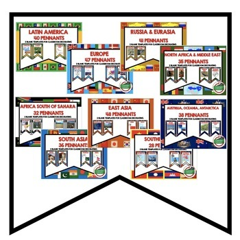 World Geography Word Wall BUNDLE  (Over 569 Pennants) World Geography Bundle