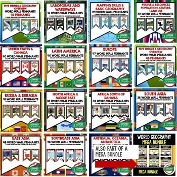 World Geography Word Wall BUNDLE  (Over 569 Pennants) World Geography Bundle