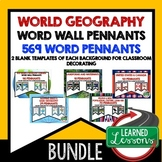 World Geography Word Wall BUNDLE  (Over 569 Pennants) Worl