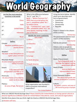 World Geography Worksheet