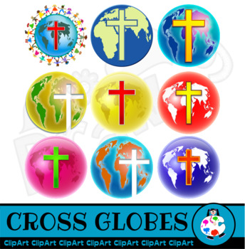 World Globes with Cross Symbol