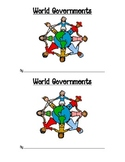 World Governments Flipbook -- Democracy, Dictatorship, Monarchy