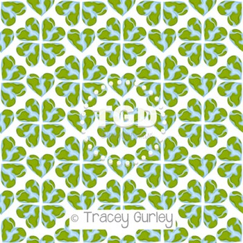 World Heart Pattern on White digital paper Printable Tracey Gurley Designs