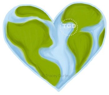 World Heart - Valentine's Day, Earth Day, Printable Tracey Gurley Designs