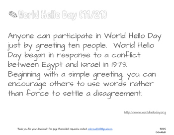 World Hello Day Coloring Page by Math Skills: Subitizing/Addition/Multiplication