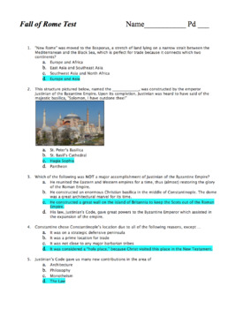 World Hist Test: Fall of Rome & Rise of Byzantium / Early Christian Period