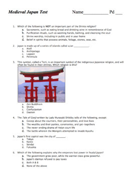 World Hist Test: Japan / History, Geography, & Culture of Feudal Japan