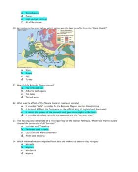 World Hist Test: Middle Ages / The Medieval Period of Europe