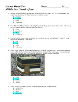 World Hist Test: Middle East & North Africa / Southwest Asia / The Islamic World