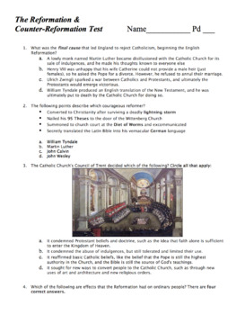 World Hist Test: The Protestant Reformation / The Counter-Reformation