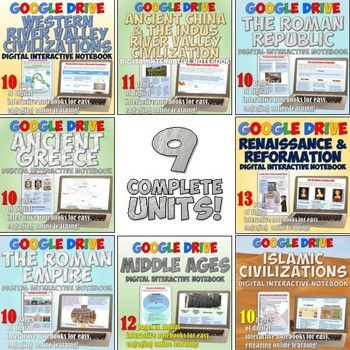 World History 1: Complete  Google Drive Interactive Notebook Bundle