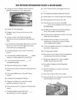World History 1 SOL Review Crossword Puzzle