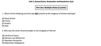 World History: 11 Day Unit Romanticism, Revolution (Bismarck/Italy)