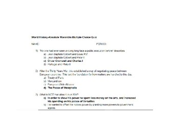 World History Absolute Monarchs Multiple Choice 10 Question Quiz