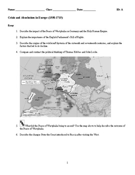 World History - Absolutism in Europe (1550-1715) Discussion/Essay Questions