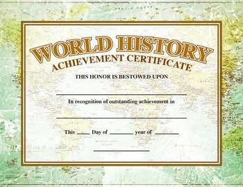 World History Academic Achievement Award/Certificate
