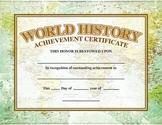 World History Academic Achievement Award/Certificate