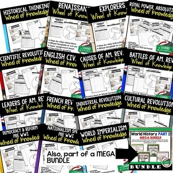 World History Activities BUNDLE, Wheel of Knowledge (Interactive Notebook)