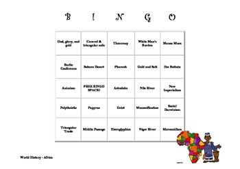 World History - Africa Bingo